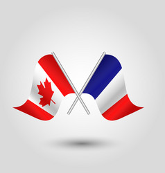 Two crossed canadian and french flags on si vector
