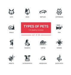 Pet types - modern simple silhouette line design vector