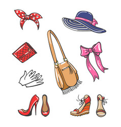 Girls fashion accessories icons vector