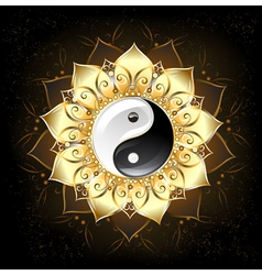 Yin yang golden lotus vector