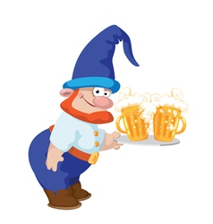 dwarf and a tray with a beer vector image