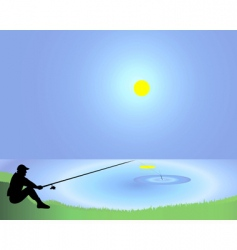 fisherman with a fishing tackle vector image