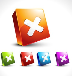 Cross icon 3d design vector