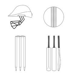 Cricket equipment icons set sketch black outlined vector