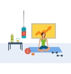 Flat set of fitness woman yoga classes vector