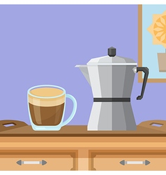 Coffee cup and moka pot vector