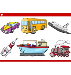 Cartoon vehicle caracters set vector