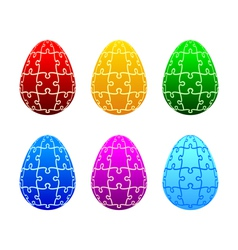 Easter eggs of the puzzle vector