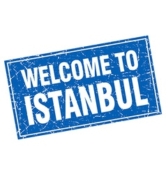 Istanbul blue square grunge welcome to stamp vector
