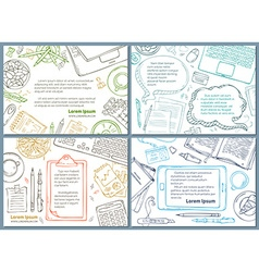 set of office workplace education backgrounds vector image