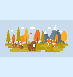 autumn wild with tree and animals vector image vector image