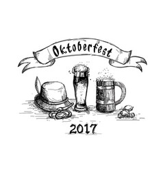 Beer glass sketch mug oktoberfest festival banner vector