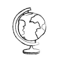 Blurred thick silhouette of hand drawn earth globe vector