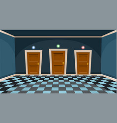 Cartoon choose a door concept empty room with vector