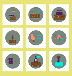 Collection of icons in flat style natural disaster vector
