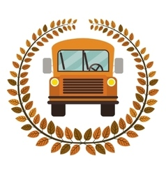 crown of leaves with school bus vector image