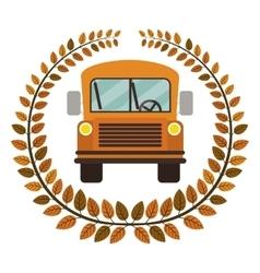 Crown of leaves with school bus vector