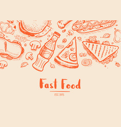 Fast food hand drawn typography design vector