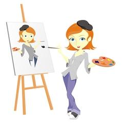 Female paint artist vector