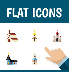 Flat icon church set of religion christian vector