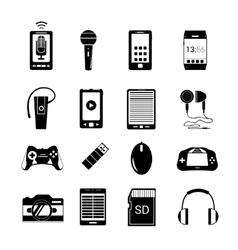 Gadget icons black vector image