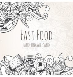Hand drawn background of fast food elements vector image