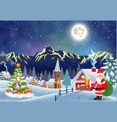 house in snowy christmas landscape at night vector image vector image