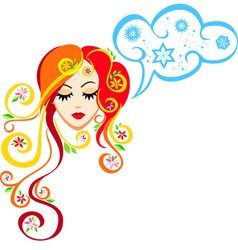 image of spring girl that thinks about winter vector image