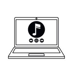 Laptop music player app modern outline vector