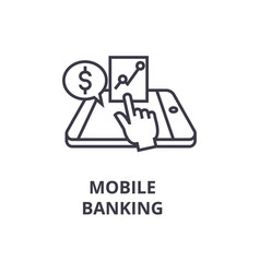 mobile banking line icon outline sign linear vector image