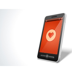 Mobile phone and heart icon vector image vector image