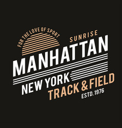 new york typography for t-shirt print track and vector image vector image