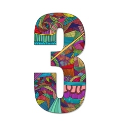 Number 3 with hand drawn abstract doodle pattern vector