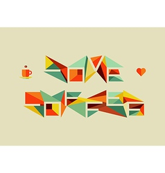 Origami coffee love concept vector