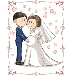 Pregnant Couple Wedding Invitation Cartoon vector image vector image
