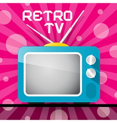 Retro Blue Television TV on Abstract Pink Backgrou vector image vector image