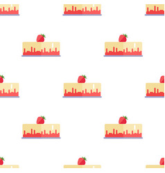 seamless pattern with cake and strawberry isolated vector image vector image