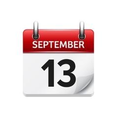 September 13 flat daily calendar icon vector