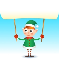 Smiling christmas elf holding blank page vector image