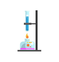 spirit lamp with fire and glass test tube with vector image