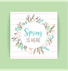 spring frame of branches and leaves vector image