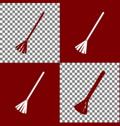 Sweeping broom sign bordo and white icons vector