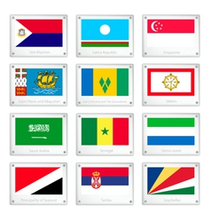 The countries flags on metal texture plates vector