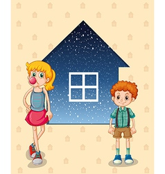Two siblings in front of the house vector