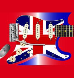 union jack guitar vector image vector image