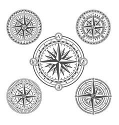 vintage marine navigation compasses in set vector image