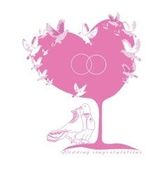 Wedding card couple fantastic doves under the tree vector