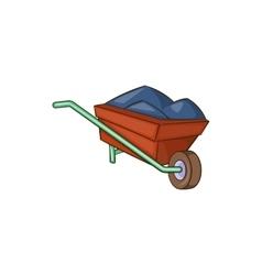Wheelbarrow with earth icon cartoon style vector image vector image