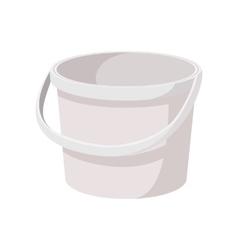 White plastic bucket cartoon icon vector image