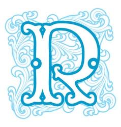 Winter vintage letter r vector